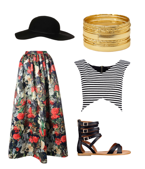 Alice + Olivia skirt, River Island top, Nine West sandals, Topshop hat, Forever 21 bangles