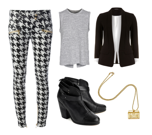 Balmain pants, Rag & Bone top and boots, Dorothy Perkins blazer, and Karmaloop necklace