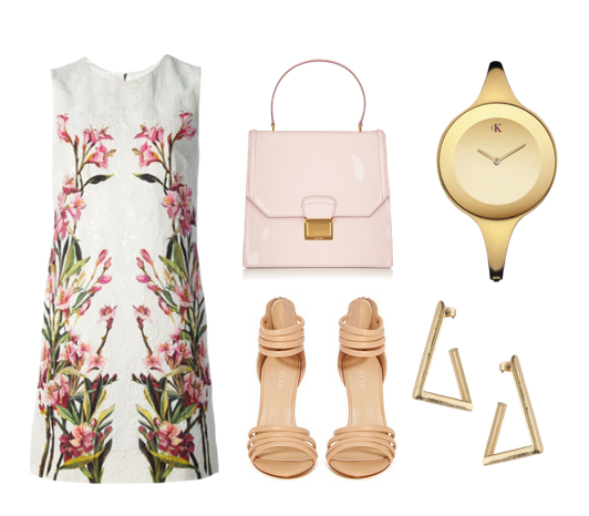 Dolce & Gabbana dress, Miu Miu tote, Nastygal shoes, Calvin Klein watch, and Miss Selfridge earrings