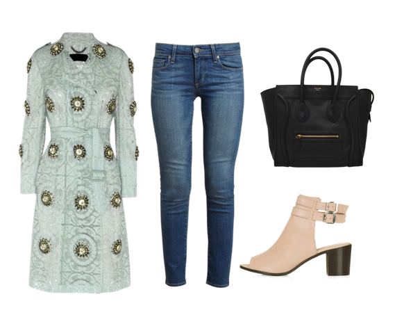 Burberry coat, Paige Denim jeans, Topshop heels and Celine handbag