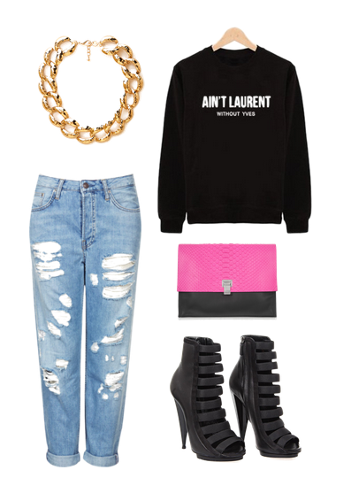 Topshop jeans, Gucci shoes, Proenza Schouler clutch, and Forever 21 necklace